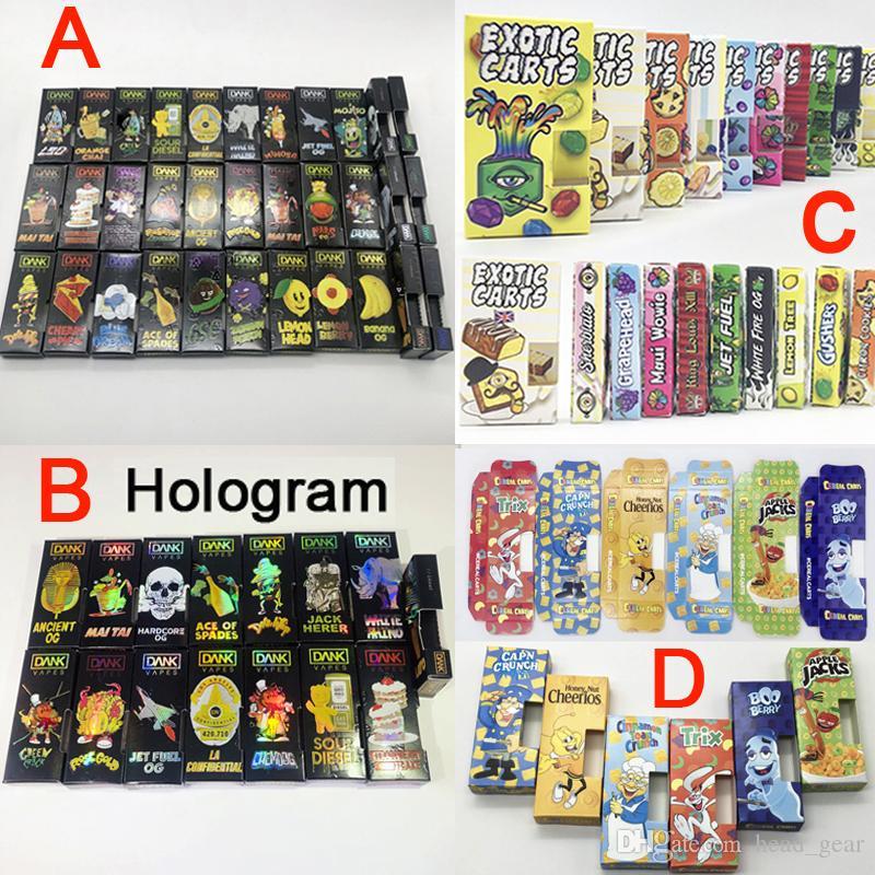Hologram Dank Vapes Cartridge Packaging Exotic Carts Side View Packaging  Dank Cereal Carts Paper Box Vaporizer Pen Oil Cartridge Packaging