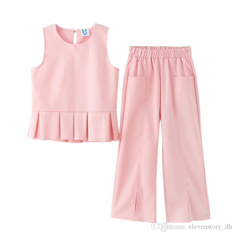 Compre Conjuntos De Moda De Verano Para Niñas De 4 A 12 Años 2830a1907e31