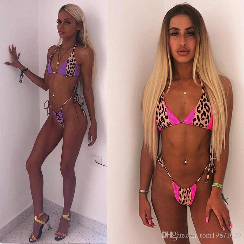 Hot sexy bikinis swimsuits for women wholesale New halter patchwork leopard print swimware two piece swimsuits