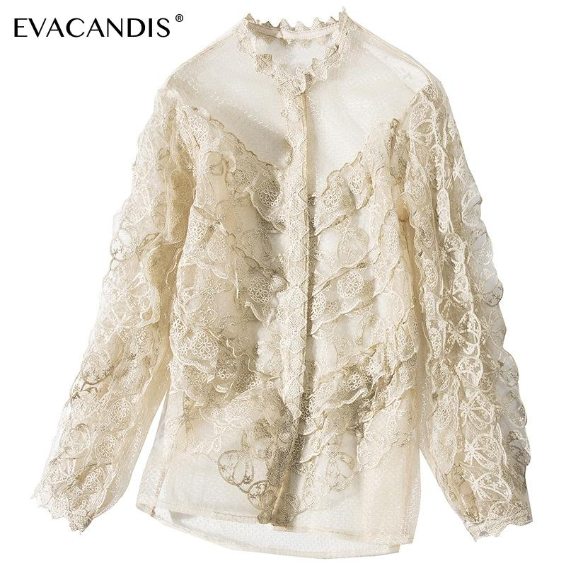 Lace Embroidery Women Blouse Hollow Out Mesh Patchwork Gold Single Breasted Party Vintage Korean Long Sleeve Ruffle Women Shirt