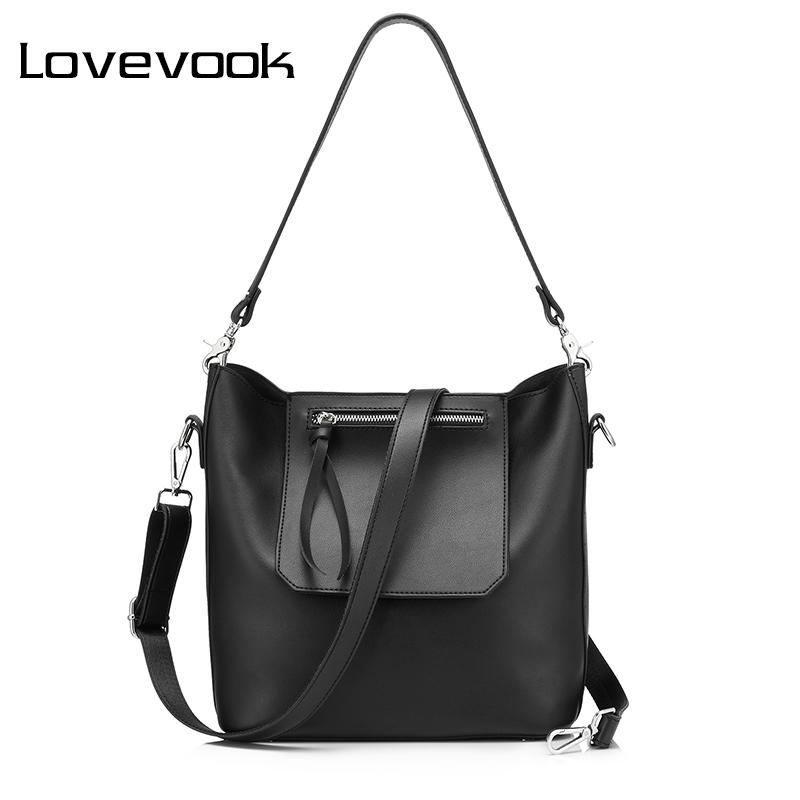 aef5ce61526 LOVEVOOK Women Bucket Bag High Quality Artificial Leather Fashion Shoulder  Messenger Bag Female Handbag Black Tote Handbags On Sale Leather Bags From  ...