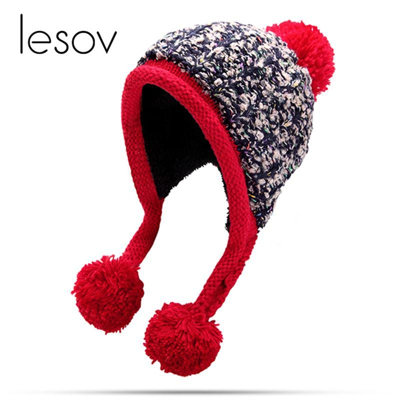 2233c71d7 Lesov Knitted Beanie Hat Women Thicken Plush Winter Hat Warm Earflap Pom  Pom Knitting Beanies Snow Caps Ski Sport Bonnet Gorro