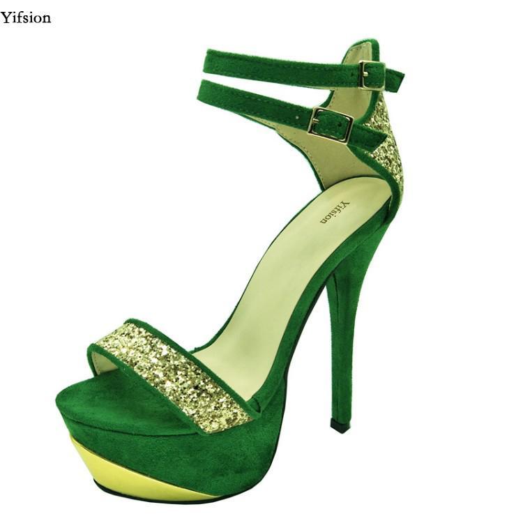 304755876f2 Compre Yifsion Nueva Moda Mujer Plataforma Sandalias Stiletto Tacones Altos  Zapatos Niza Punta Abierta Verde Zapatos De Fiesta Damas Más EE. UU.