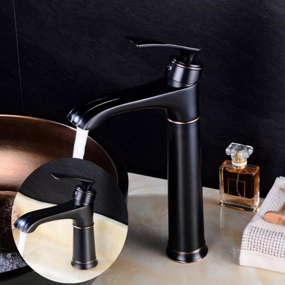 Black Faucets Bathroom Vessel Sink Mixer Tap Oil Rubble Bronze Tall Water Basin Faucet Deck Mounted Single Handle ELF1402B