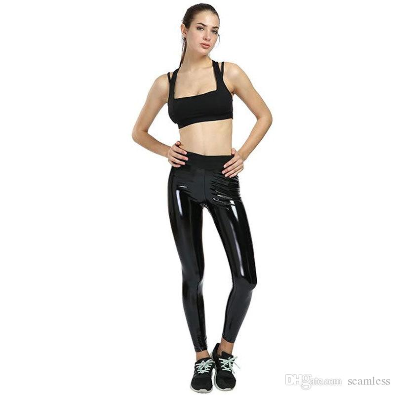 5e7e6811726bf3 2019 Wholesale Womens Yoga Pants Ladies Strethcy Shiny Sport Fitness  Leggings Trouser Pants Bottoms Running Quick Drying Training Trousers 2019  From ...