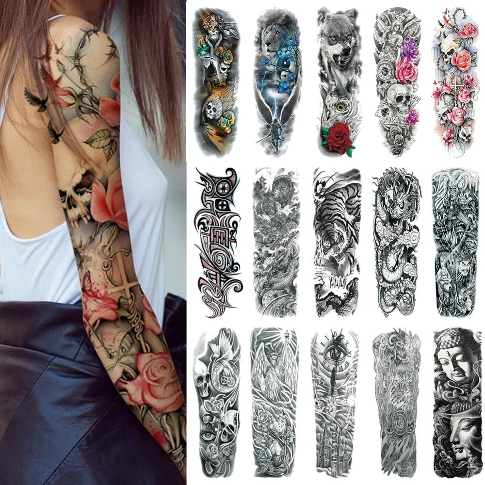 0ca95c193af24 Waterproof Temporary Tattoo Sticker Clock Rose Flower Full Arm Fake Tatto  Flash Tatoo Sleeve Large Size For Girl Women Lady Beauty & Health Tattoo &  Body ...