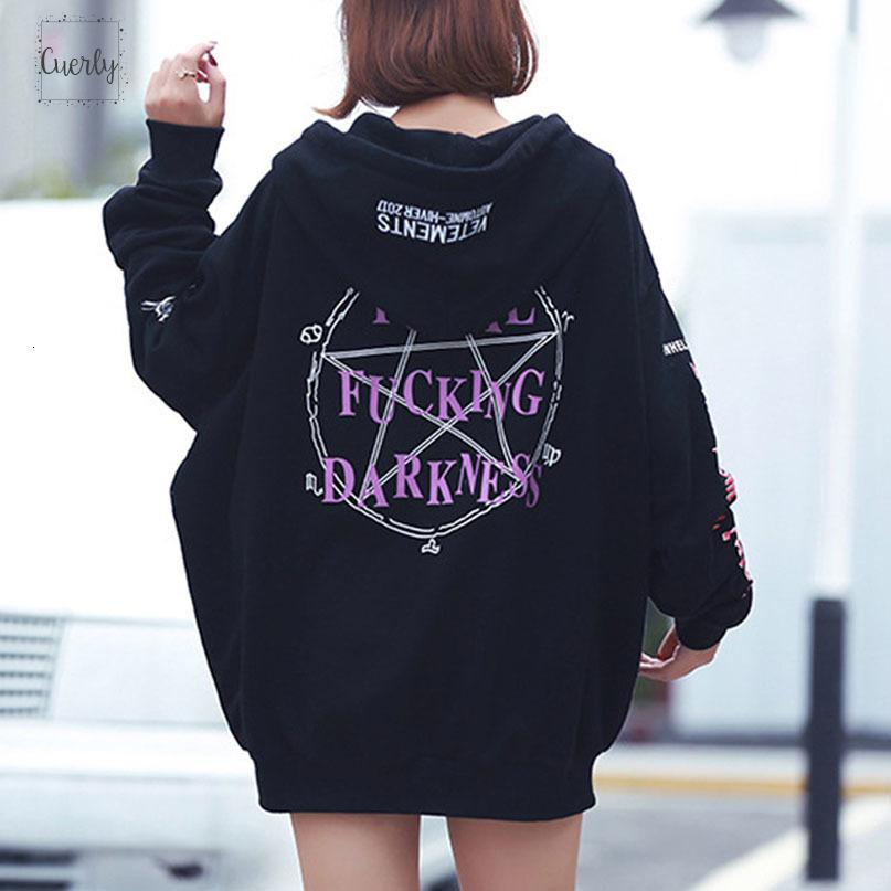 2019 Hot Gothic Harajuku Art Hoodies Frauen Fleece lose Letter Print Tasche Lace Up Bf Mid Länge Herbst Winter Hoodies