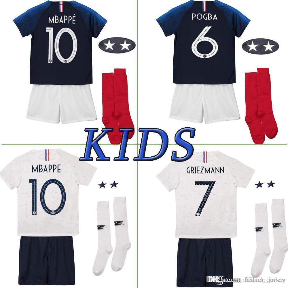 check out 42112 3f46d France soccer jersey home away Franch Kids kit 19 POGBA GRIEZMANN MBAPPE  France kids kit soccer jersey pants socks
