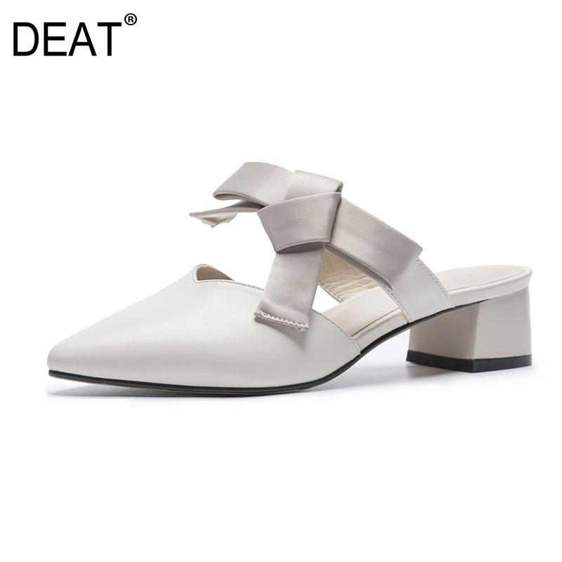 [DEAT] 2019 New Spring Summer Sharp Toe Bandage Bow Pu Leather Outside High Heels Slippers Women Shoes Fashion Tide 10SJ249