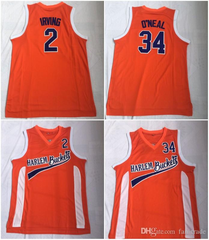sports shoes 012a4 53ba8 Uncle Drew Costume #2 Kyrie Irving Jersey Harlem Buckets Movie Film Orange  Mens Stitched #34 Shaquille O Neal Basketball Jerseys ONea Shirts
