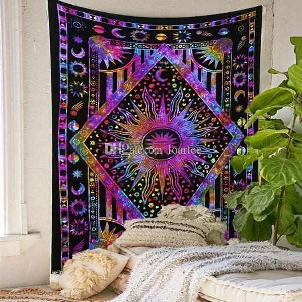 . 92  Trippy Home Decor   Psychedelic Cannabis Leaf Wall Tapestery