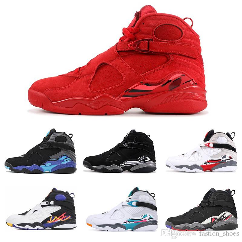 8 8s VALENTINES DAY Red 2019 New mens basketball shoes Aqua black Blue Countdown Pack Chrome Baskets Trainers athletic sports sneaker 7-13