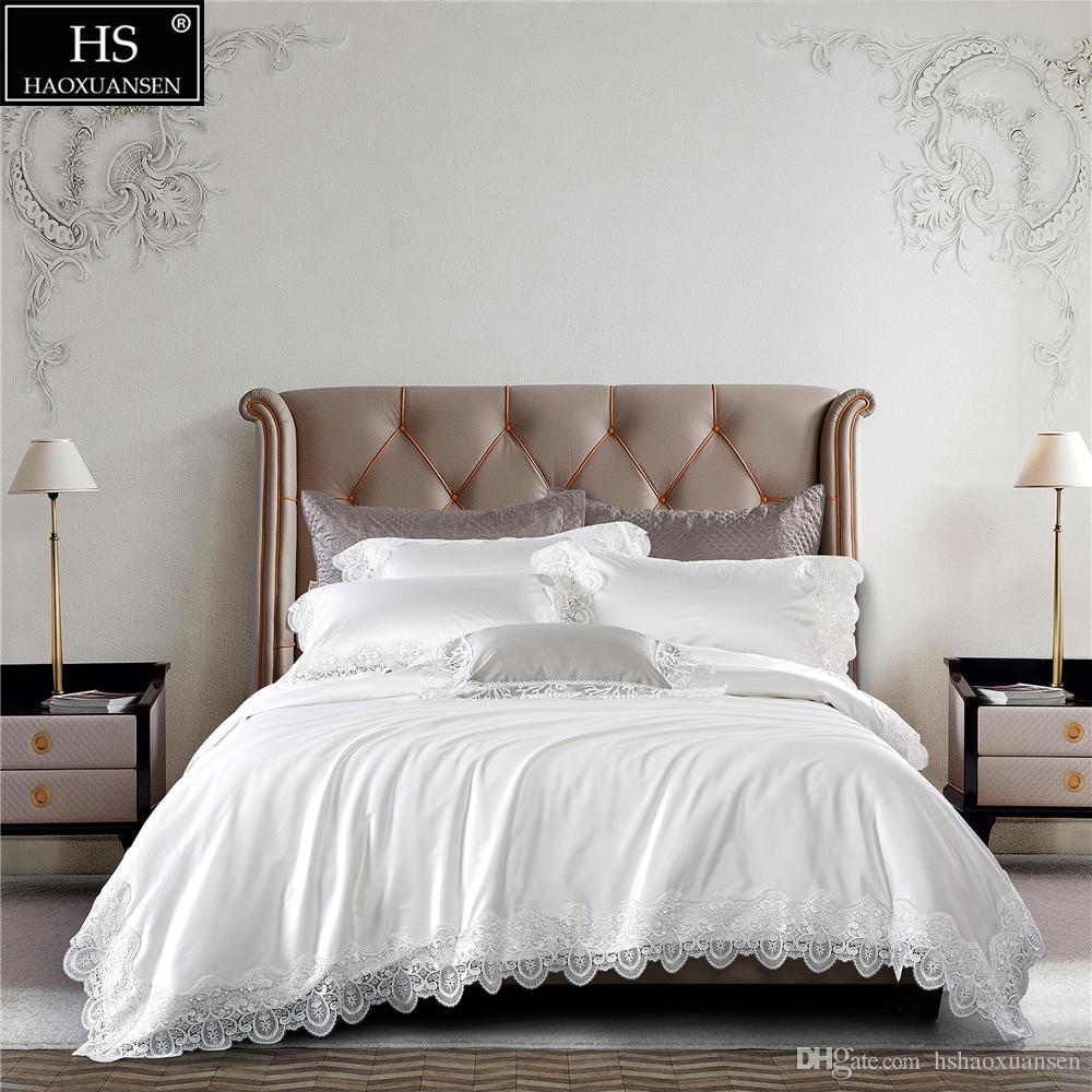 100s Egyptian Cotton White Luxury Royal Romantic Lace Girls Bedding