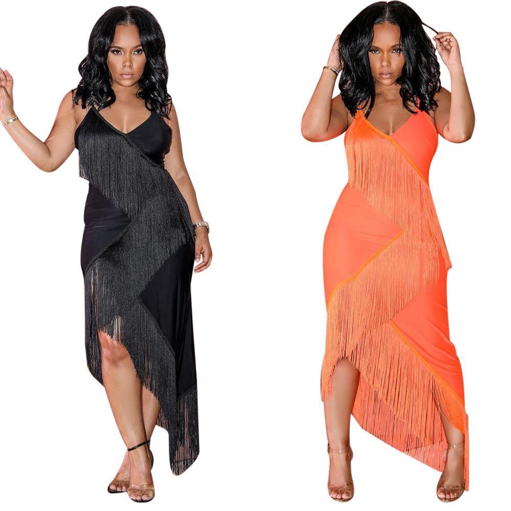 quality design 4c361 f8786 M898 grenzüberschreitende exklusive Damenmode Explosion Modelle Europa und  die Vereinigten Staaten sexy einfarbig Quaste Kleid