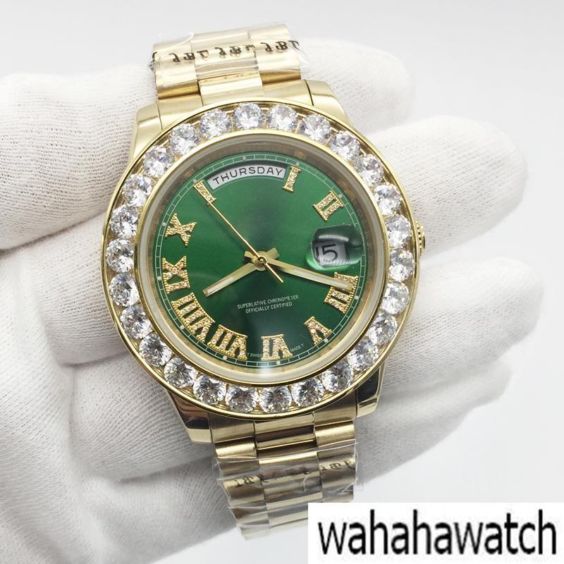 c6171123ef00 Compre Marca De Lujo Reloj Para Hombre 18 K Oro Gran Diamante Bisel Roma  Número Verde Dial Acero Inoxidable Movimiento Mecánico Automático Reloj  Masculino A ...