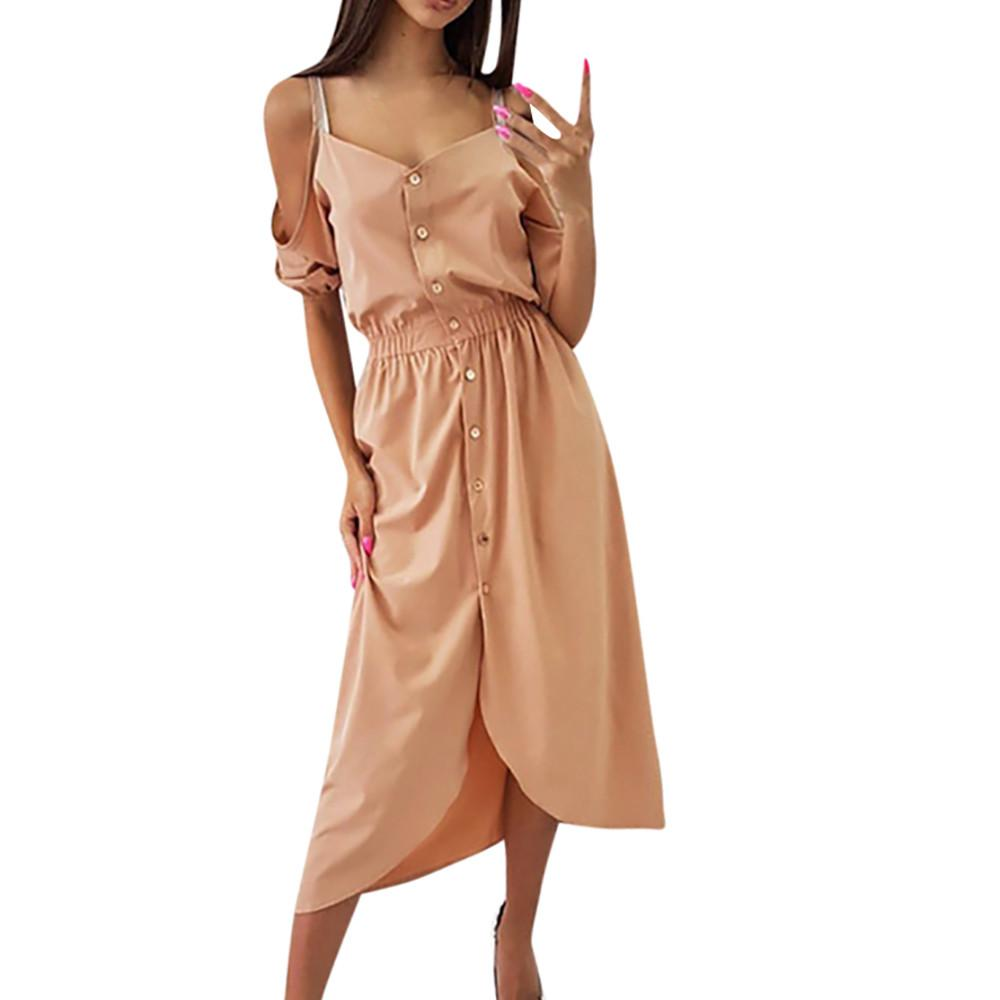 b9a4ab584ed6 Feitong Personalised Women S Dresses Half Sleeve Cold Shoulder Dress Ladies  Casual Button Dress Decoration Dresses Summer 2019 Women Black Dresses  Casual ...