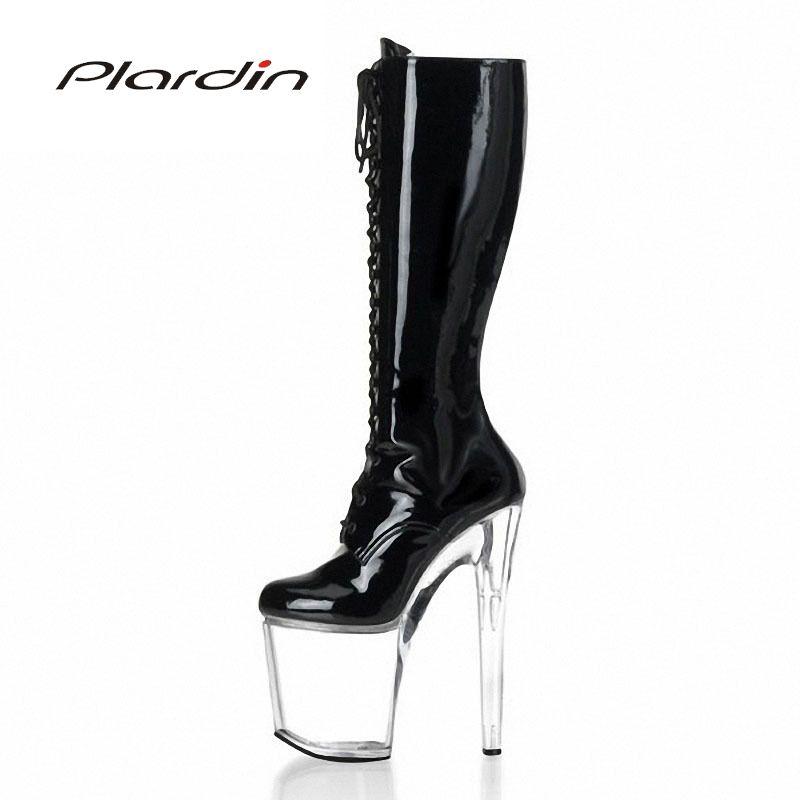 b937447fd6a Plardin Plus Size   35 46 Sexy Transparent 20CM High Heels 10CM Platform  Cross Tied Zip Mid Calf Nightclub Dance Party Boots Cheap Shoes For Women  Snowboard ...