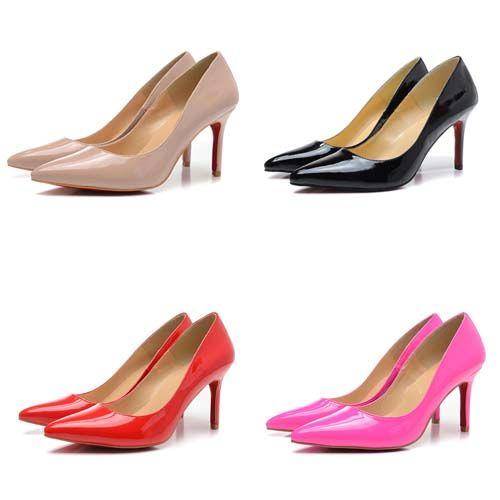 2fe86b0bd809f Mode High Heels 8 cm Designer Frauen Schuhe Leder Bottom Paris Spitzen  Zehen Matt Schwarz Rot Luxus Pumpen Kleid Schuhe Größe 35-42 Verkauf