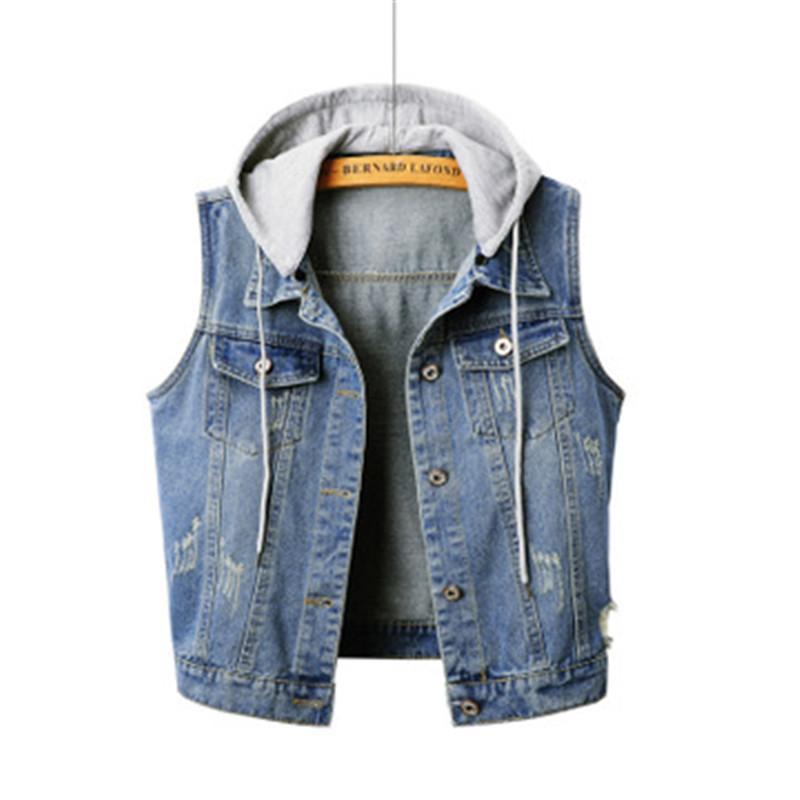 new products b4b7c b5eab Gilet smanicato in denim moda moda estiva slim Plus size 4XL top in denim  casual con cappuccio giacca corta AS930