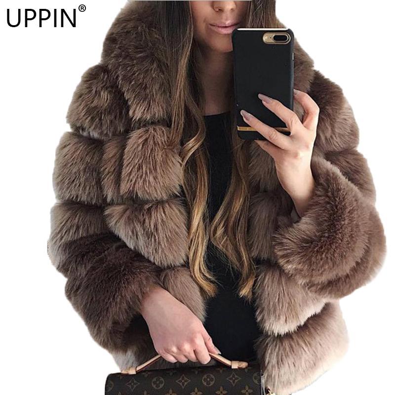 f81cc32c7ce9 2019 UPPIN Popular Shaggy Cardigan Faux Fur Coat With Hood Plus Size 2018  Winter Fox Fur Jacket Women Hooded Coats Girls Furs Jackets From Hoto, ...