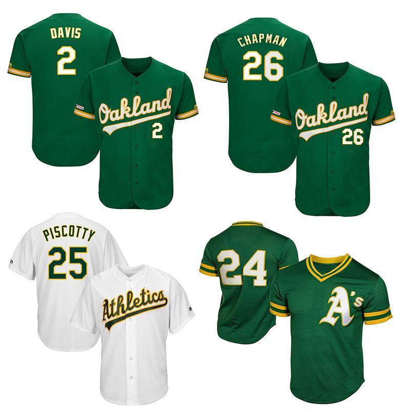 the latest 97349 218c8 Custom Mens Jersey Oakland players Khris Davis & Matt Chapman & Matt Olson  Commemorative Patch Athletics Baseball Jerseys
