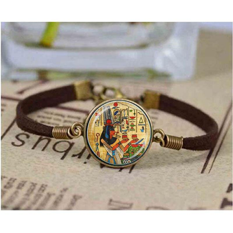 Cleopatra Glass Dome Egyptian accessories egypt bracelet leather chain Art DIY Jewelry Queen Vintage Charm Unique christmas GiftAbout US