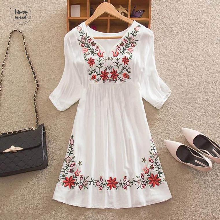 Vintage Women Mexican Blouse Embroidered Floral 100% Cotton Peasant Summer Ethnic Tunic Boho Hippie Clothes Tops Blusa Feminina