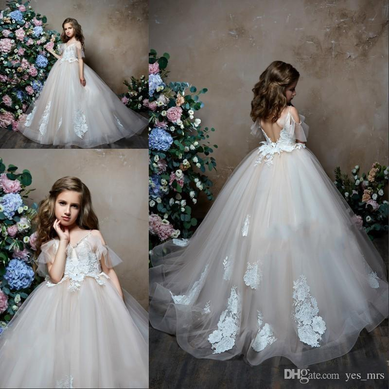 286234dbc New Cheap 2019 Princess Flower Girls Dresses For Weddings Cap Sleeves Tulle  Lace Appliques Backless Long Girls Pageant Gowns Kids Proms Flower Girl  Dresses ...
