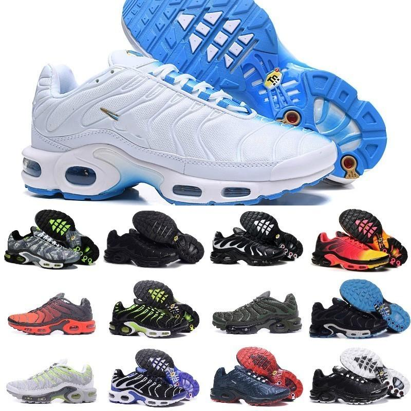 2019 Nike Air Max Tn Shoes New Airmax Tn Plus Tn Shoes Barato Hombres Tn Plus zapatillas Nuevo diseño Tn Requin malla transpirable negro blanco rojo
