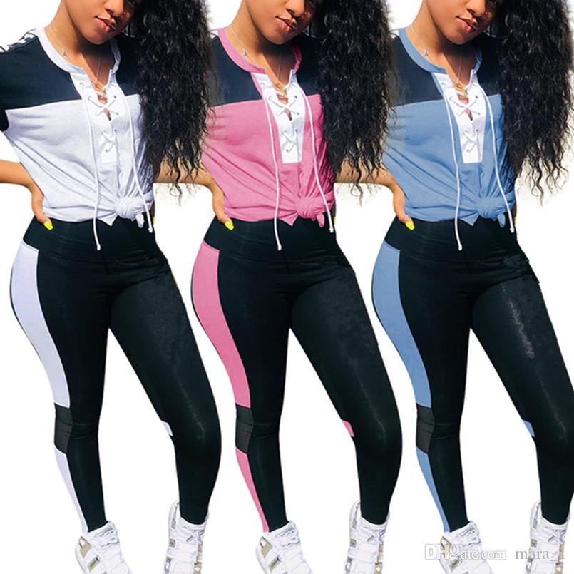 2a2745652d64 Diseñador de la marca mujeres jogging traje de manga corta 2 piezas  conjunto chándal t-shirt leggings trajes ropa deportiva suéter Crop Top 560
