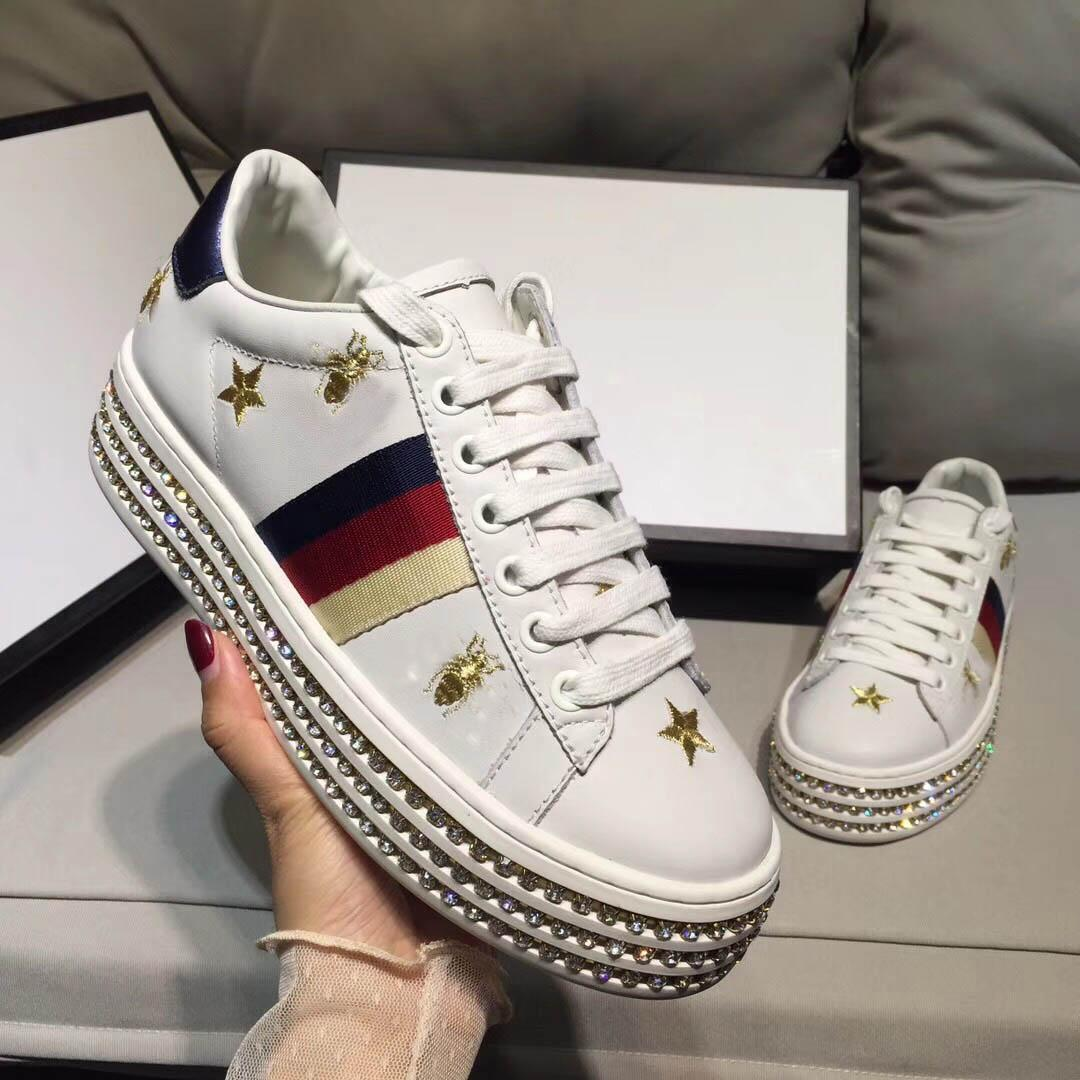 4739db34 2019 New Women's Shoes Fashion Casual Thick-soled Height-increasing Shoes  All Around Diamonds Trendy Shoes Manual Embroidery Letters Casual