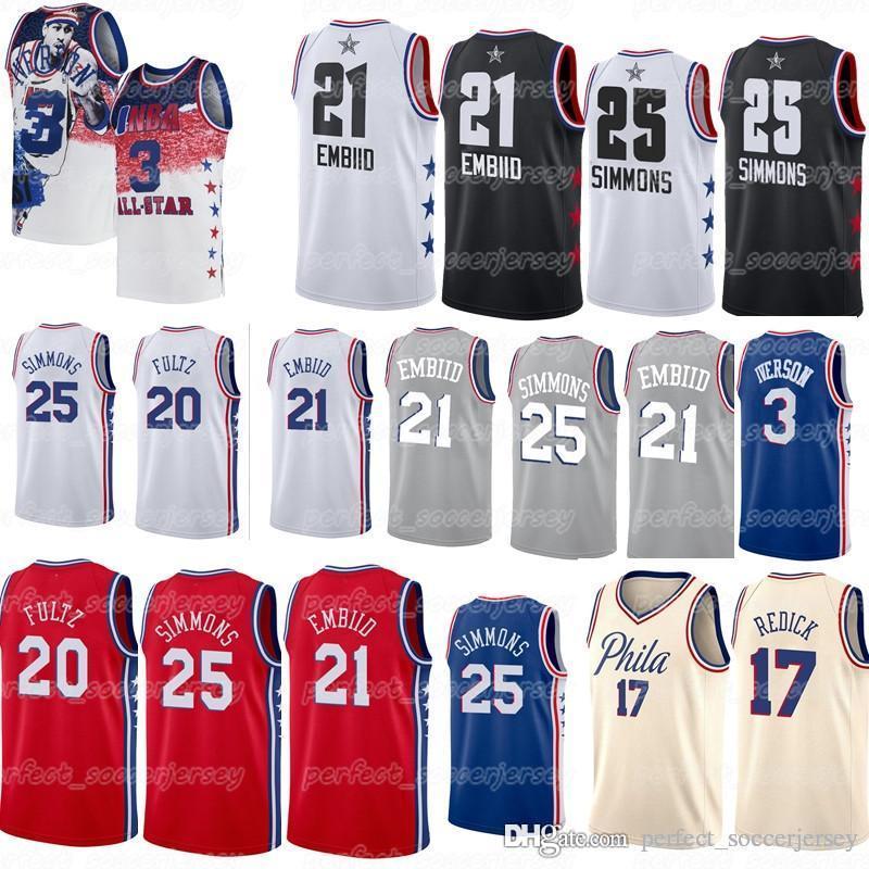 meet 9e55c 230f4 Philadelphia jersey 76ers 21 Embiids jersey Markelle 20 Fultz Ben 25  Simmons Allen 3 Iverson 17 Redick Basketball Jersey