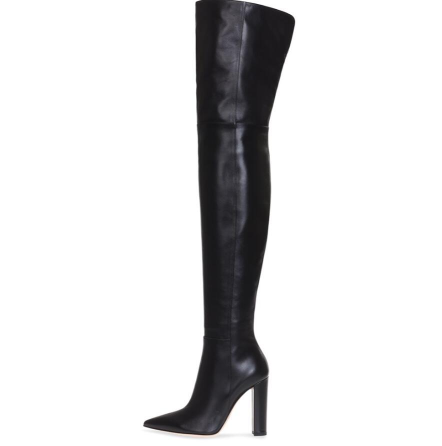 10cm Block Heel Gold Leather Boots Over the Knee Thigh High Boots Fashion Winter Shoes Women
