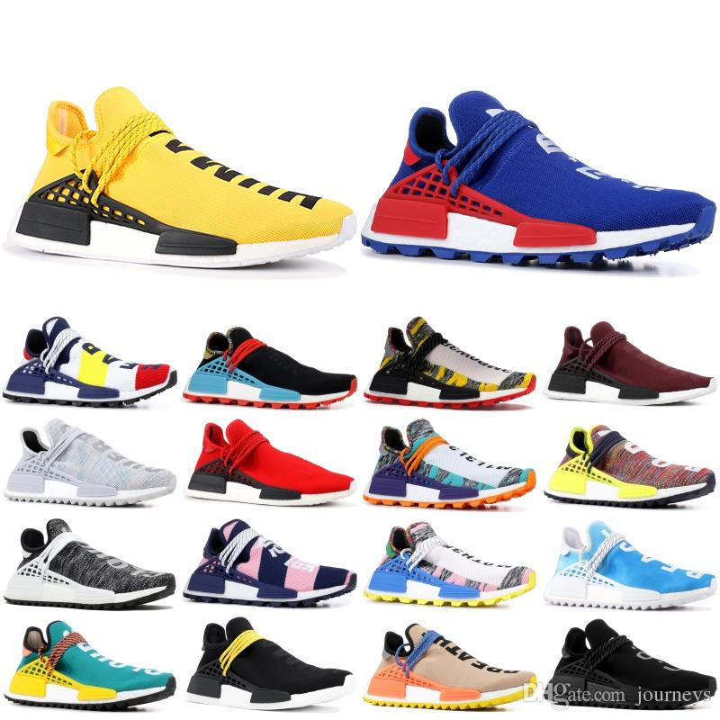 26a5dc53502a 2019 NMD Pharrell Human Race Designer Sneakers Men Women Nerd Blue BBC  Inspiration Pack Core Black PW HU NMD Sport Running Shoes 36 46 From  Journeys