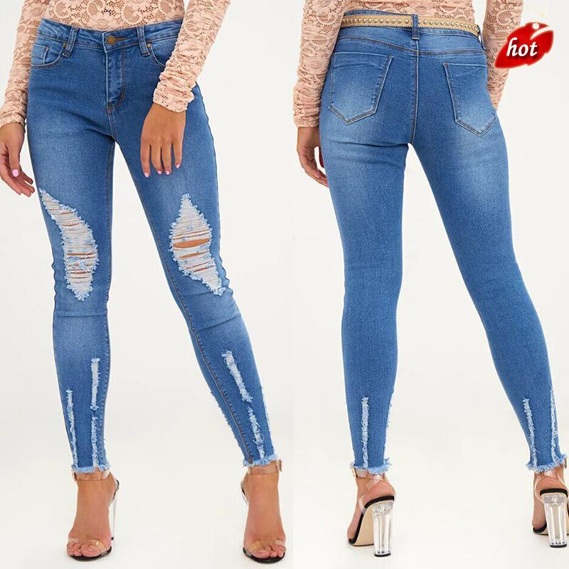 2ab40914006 2019 Plus Size Ripped Jeans Elasticity Women`s Denim Skinny Jeans High  Waist Women`s Stretchy Pencil Skinny Denim Woman O8R2 From Yukime
