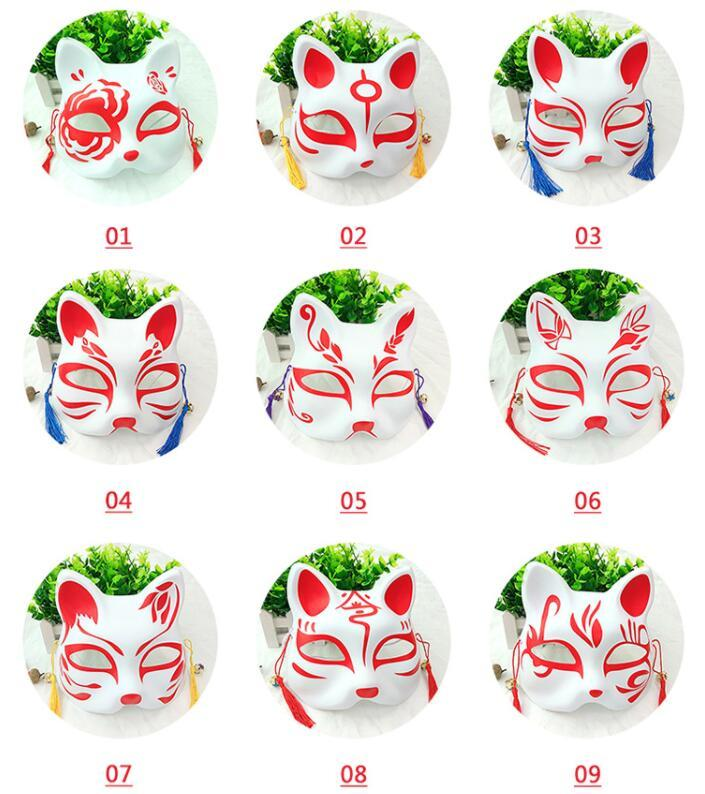 Cat Fox Shape Masks Japanese PVC Fox Party Masks Masquerade Cosplay Party Supplies Plastic Half Face Halloween Mask GGA2049