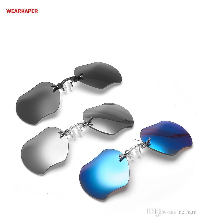 f94c27c5ee WEARKAPER Retro Apple Lense Clip On Nose Glasses Men Matrix Morpheus Movie  Rimless Sunglasses Women Oculos Gafas De Sol Polarised Sunglasses Baby  Sunglasses ...