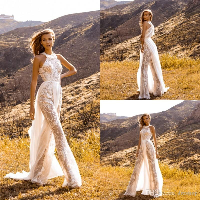 2019 Bohemian Style Wedding Dresses Women Jumpsuits Sleeveless Illusion Lace Beach Abito da sposa Sexy abiti da sposa