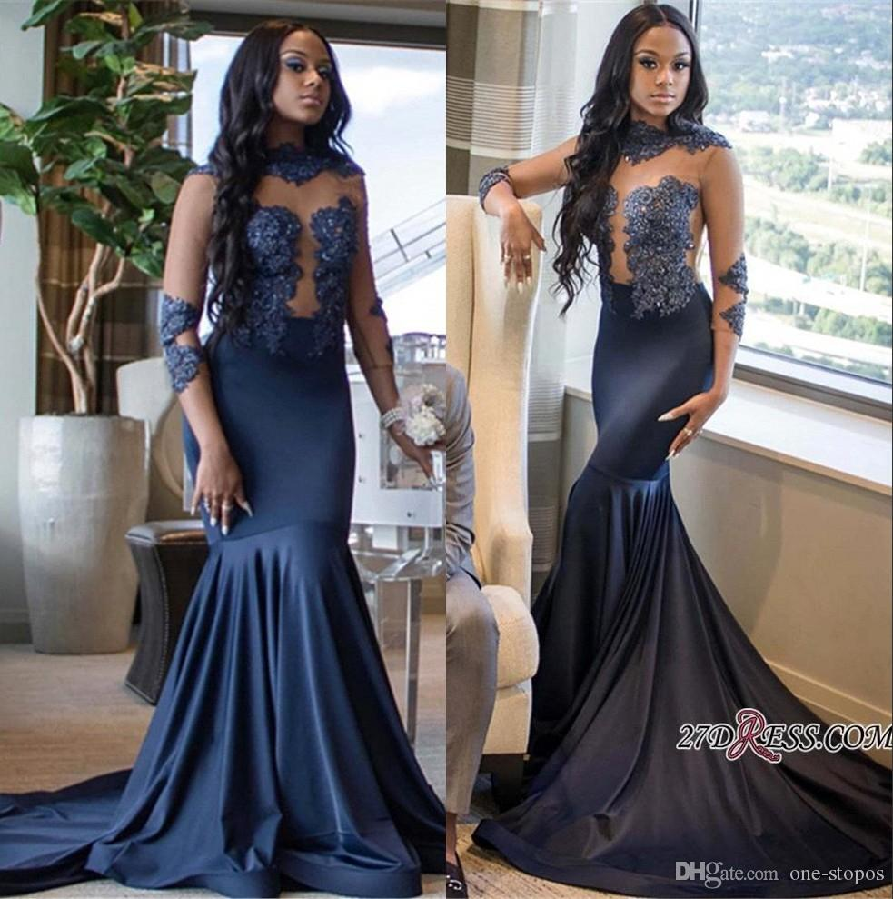 688314544e4 Navy Appliqued Prom Evening Dress 2019 Long Sleeve High Neck Formal Party  Gown Plus Size Pageant Dress Custom Made Kids Prom Dresses Lace Prom Dresses  2015 ...