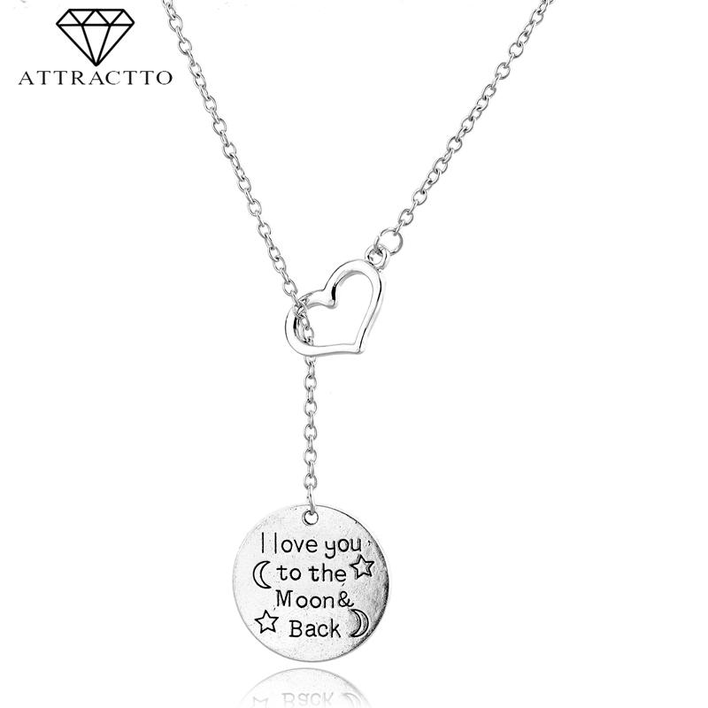 ATTRACTTO New Silver Round Long Necklaces&Pendants Gifts For Mother Heart Chain Necklace Charm Crystal Necklace Female SNE190003