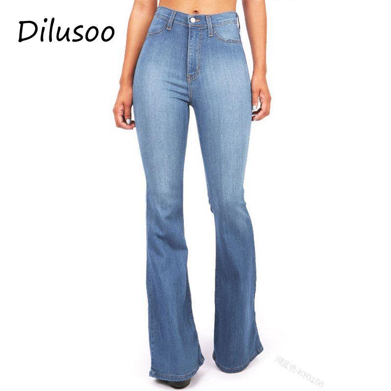 Compre Dilusoo Pantalones Vaqueros Mujer Pantalones Flare De Cintura Alta  Elástico Delgado Pantalones Vaqueros Lápiz Europa Mujer Casual Oficina  Señora ... 7a29e351cf5c