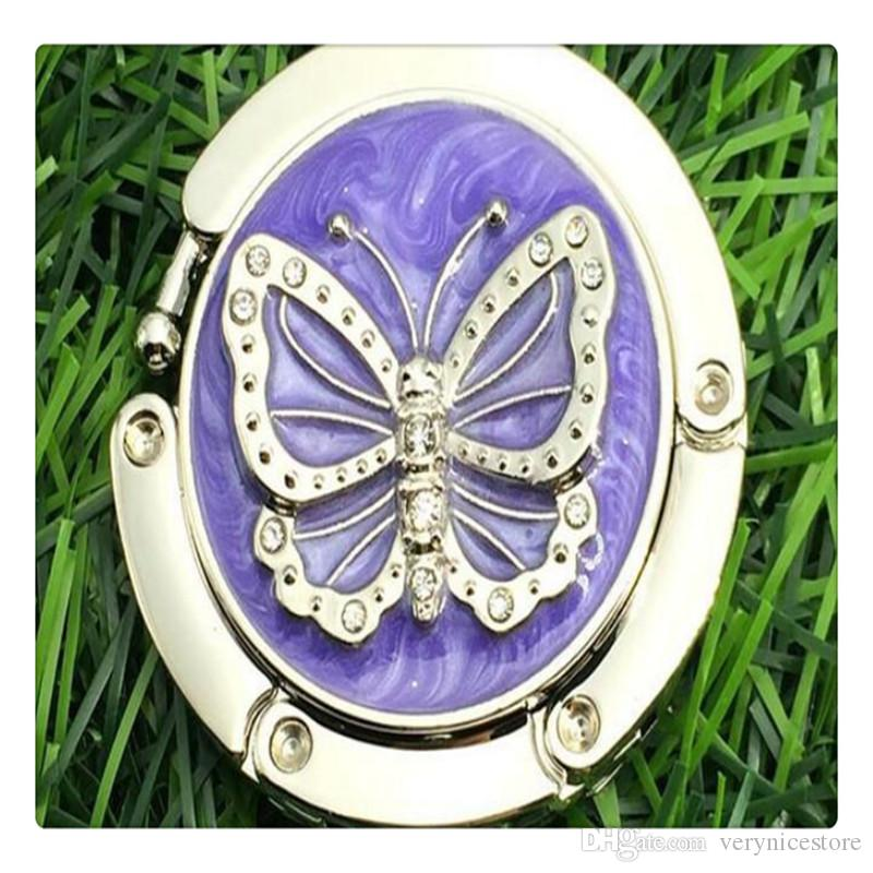 Fashion Foldable Round Folding Butterfly Accent Hook Handbag Table Hanger Purple And Black For Gifts Wholesale