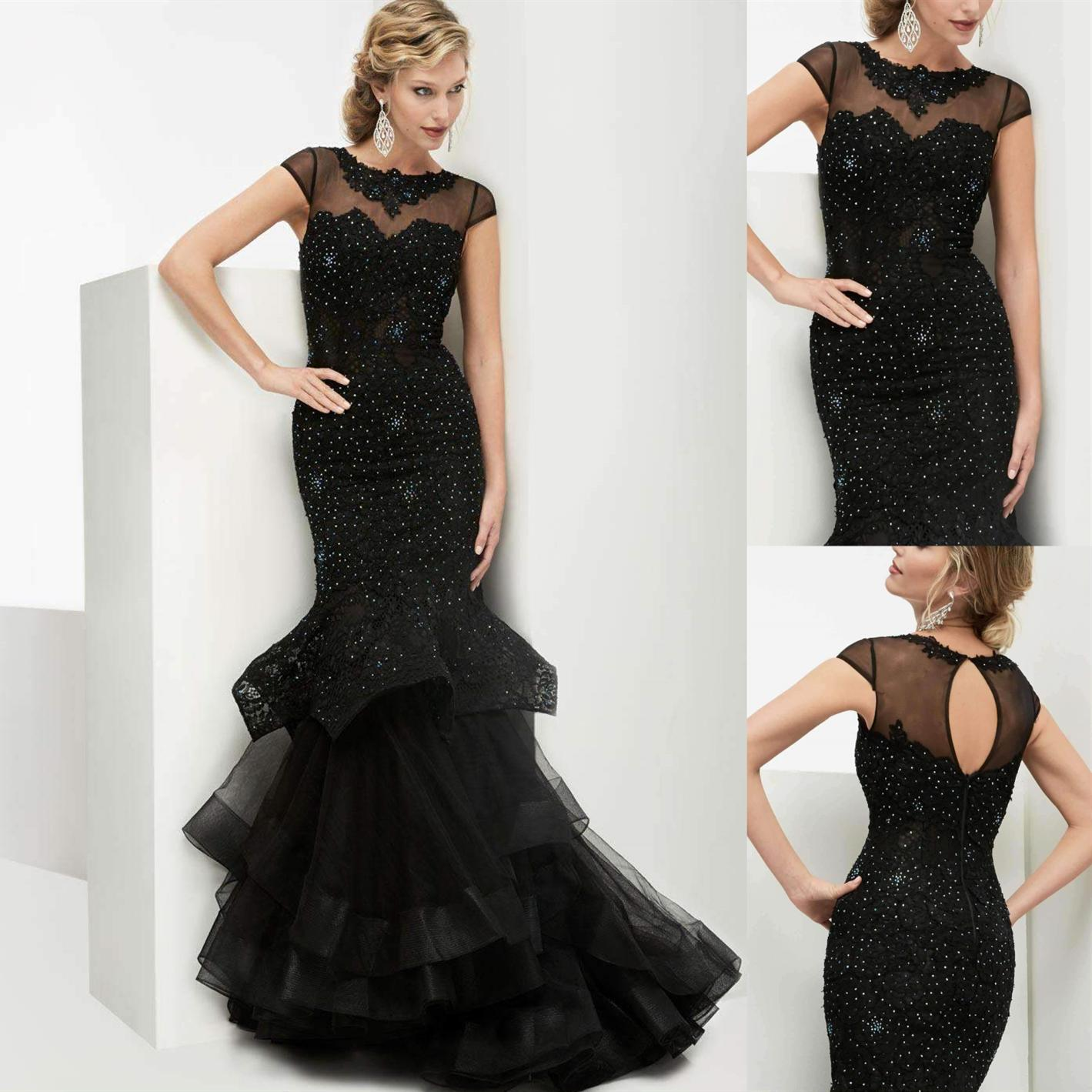5928a80e3a Mermaid Long Prom Dresses Black Sexy Jewel Neck Short Sleeve Lace Tulle  Formal Evening Gowns With Key Hole Back Women Elegant Party Dress Sequin  Prom Dress ...
