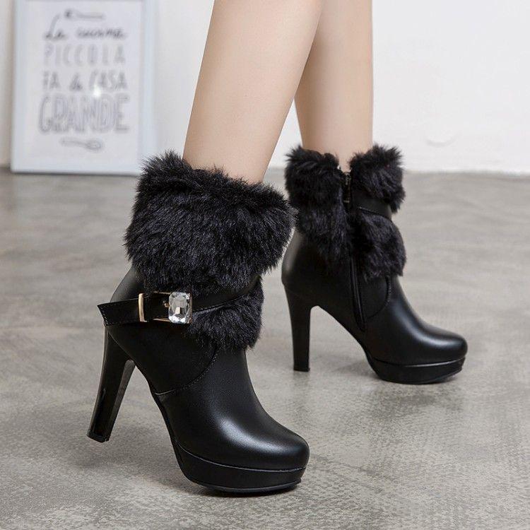 pequeño tamaño grande 32 33 34 a 40 41 42 43 botas de piel blanca mantienen cálido invierno zapatos de boda negro amarillento