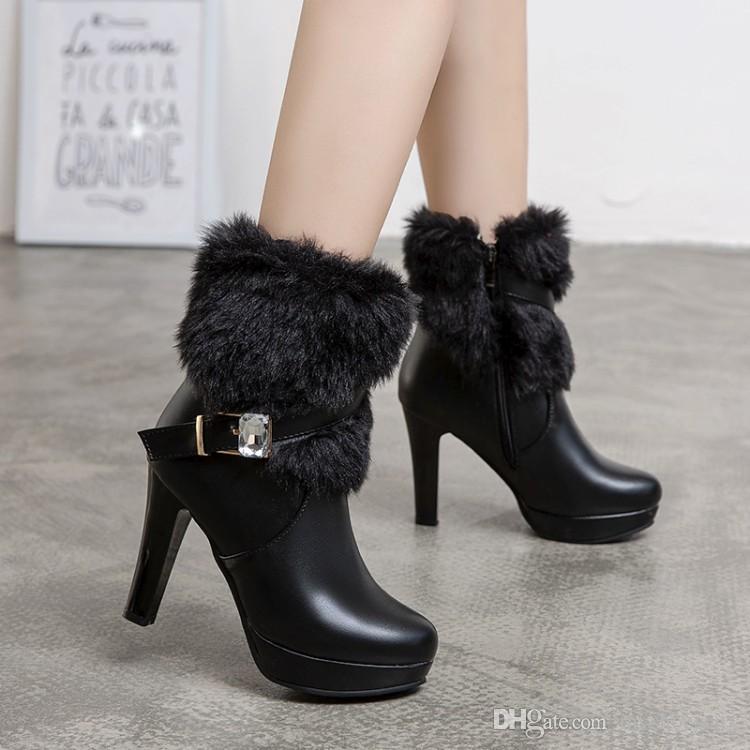 tamanho pequeno Big 32 33 34 a 40 41 42 43 botas de pele brancas manter inverno quente sapatos de noiva bege