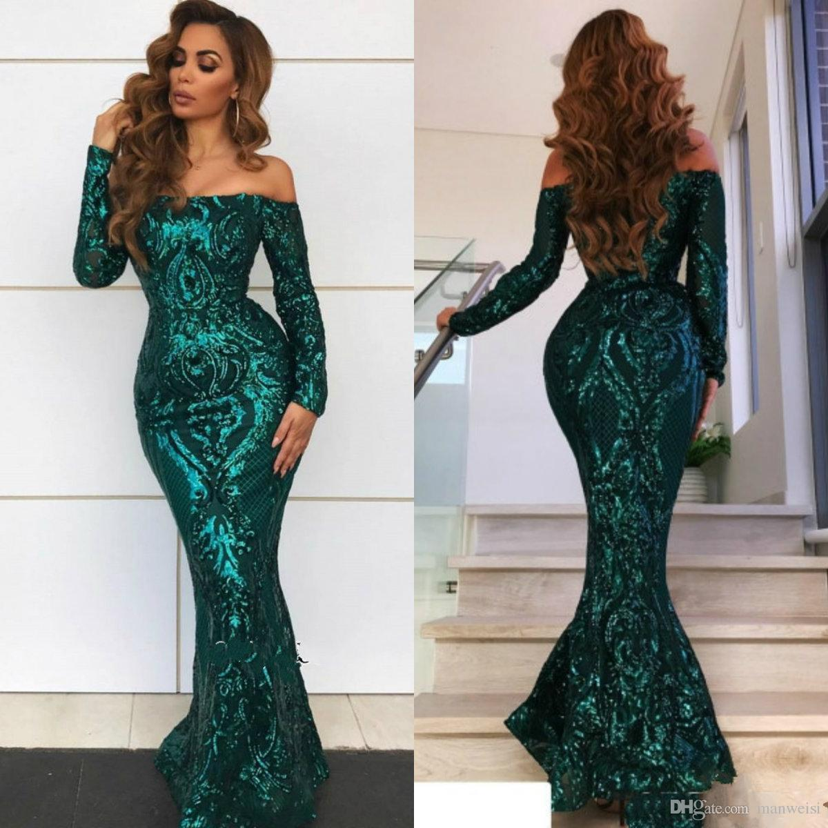 dda298f94c87f Hunter Green Mermaid Prom Dresses Off The Shoulder Long Sleeve Evening  Gowns Beaded Sequins Lace Vestidos De Fiesta Formal Party Dress Quiz Prom  Dresses Red ...