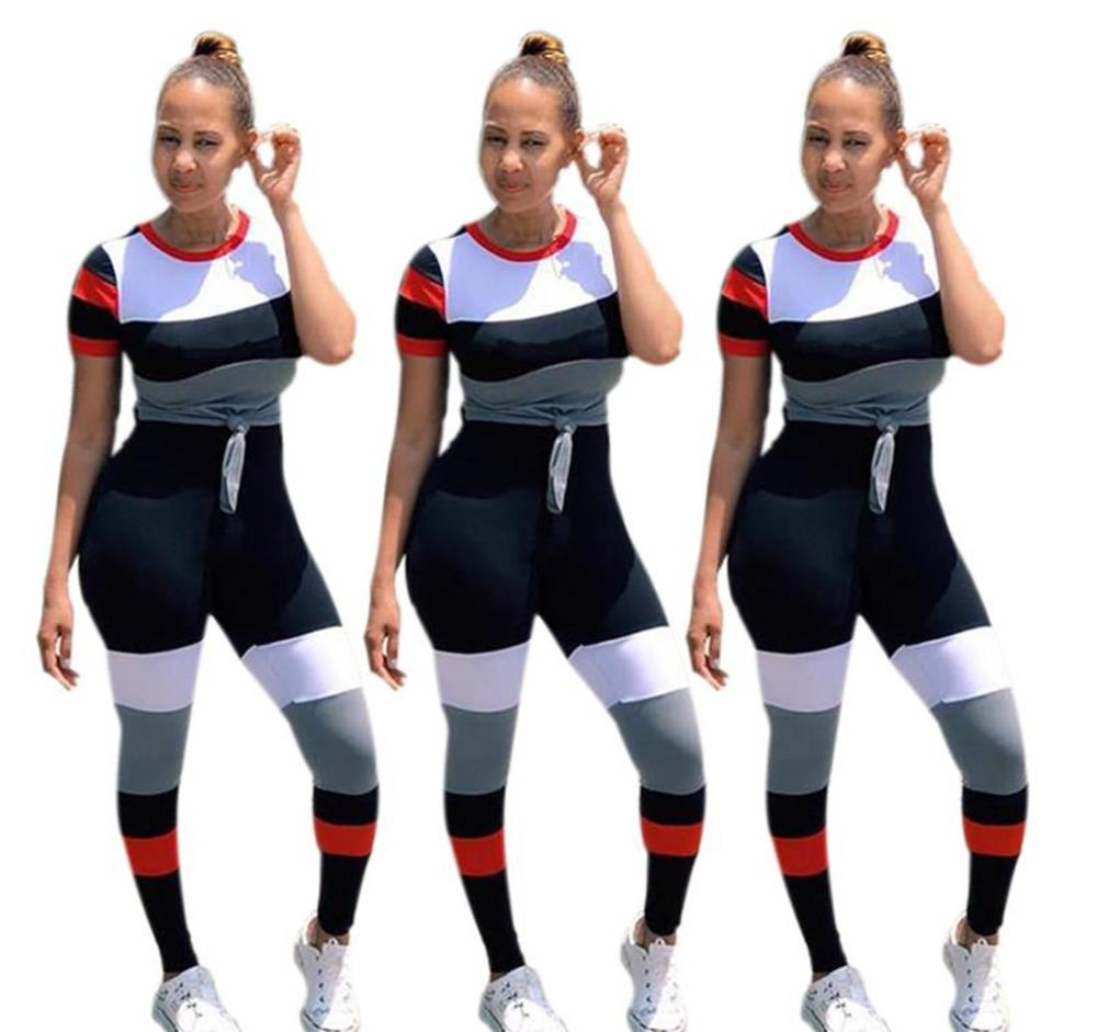 b1095afbe6266a 2019 Brand Designer Women T Shirt Set Jogger Tracksuit Shirt Leggings  Outfits Striped Tee Top Tights Sportswear Pant Spring Clothes From Meet802,  ...