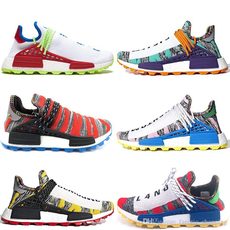 New HUMAN RACE Running Shoes Afro Solar Nerd Creme White Black Aqua Equality Pharrell Williams Hu PW Mens Women Sports Sneakers 36-45