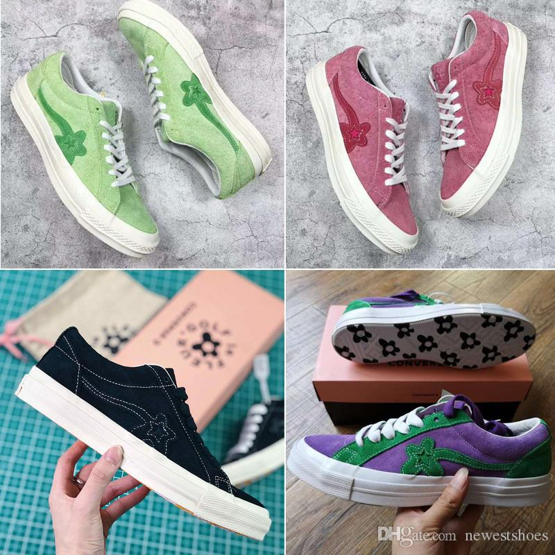 cd8077bdae4 2019 New TTC The Creator X One Star Golf Ox Le Fleur Wang Suede Green  Yellow Beige Sunflower Casual Running Skate Shoes Sneakers Bag Box From  Newestshoes