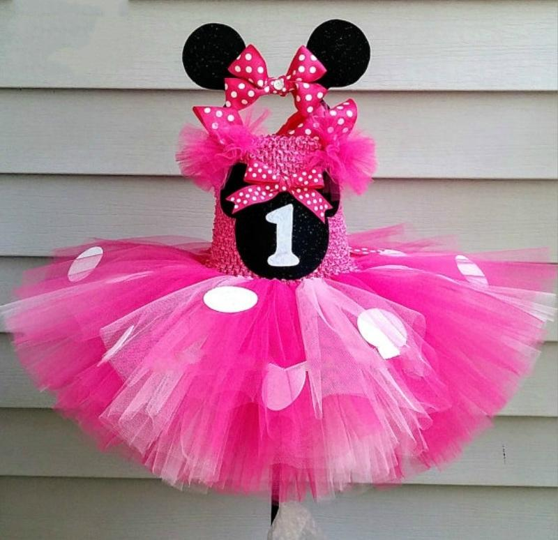 Cute Girls Pink Mickey Tutu Dress Baby Crochet Tulle Dress With White Dots And Hairbow Kids Birthday Party Cartoon Cosplay Dress MX190725